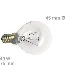 Lampe(BO/KG..)E14, 40W, Kugelform, passend zu Geräten von:ACEC AEG Alno-Küche...