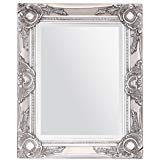French Silver Shabby Vintage Antique Style Wall Mirror with Bevelled Glass - Overall Mirror Size: 17 inches x 21 inches (43cm x 53cm)