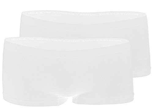 Yenita 2er Pack Damen Seamless Microfaser Pantys, Hipster, Shorts, Hot Pants, Slips (L/XL, Weiss) -