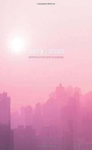 2019-2020 Monthly Pocket Planner: Foggy Pink City Skyline
