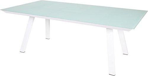 Lesli Living Multistore 2002 Breeze Table de Jardin en Verre Blanc 210 cm ou 260 cm