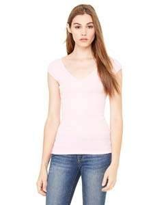 Ladies' Sheer Mini Rib Cap-Sleeve Deep V-Neck T-Shirt PINK M (Rosa Cap Rib)
