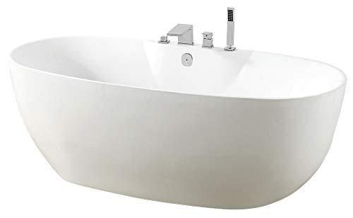 Freistehende Badewanne ROMA PLUS Acryl weiß - 170 x 80 cm, Vormontage:Mit Vormontage (5 Werktage), Wannenarmatur:Mit Wannenarmatur 6080