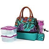 Arctic Zone Ladies Lunch Tote In Green Features Thermal Insulation The Set Includes A Sandwich Container And Two Snack-Size Containers, Which Are Microwave- And Dishwasher-Safe