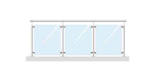 Completo Acero Inoxidable barandilla balcón barandilla 336cm, con 8mm VSG Cristal de...