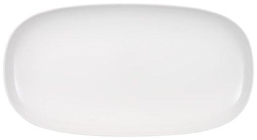 Villeroy & Boch - Bol de Service Urban Nature, Bol Plat et Élégant en Porcelaine Premium en Blanc, Compatible Lave-Vaisselle, 50 X 27 cm