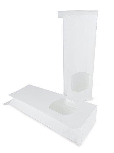 12 Bio Blockbeutel / Teetüten aus weißem Kraftpapier mit Fenster und Verschluss (Format: Maße 9 x 27 cm, der Boden misst: 9 x 4,5 cm)