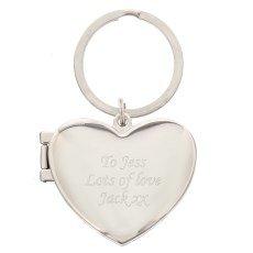 Preisvergleich Produktbild Personalisierter Bilderrahmen Herzform Schlüsselanhänger 2 Bilder fassen kann!- mit kostenloser Gravur-Muttertag