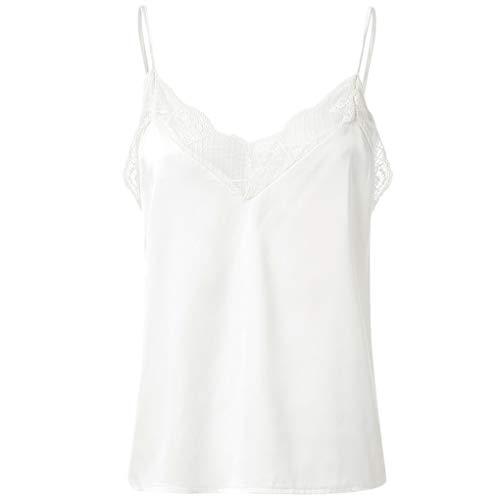 Ärmellos Bluse für Damen,Dorical Frauen Sommer Mode Causal V-Ausschnitt Hemd Elegante Spitze Patchwork Tank Tops Lose Shirt Oberteile S-XXL Ausverkauf(Weiß,X-Large)