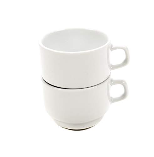 Bubble-Store Kaffeetassen, Teetassen 2-er Set, Stapeltasse aus Porzellan für Privathaushalt, Gastronomie und Catering, weiß