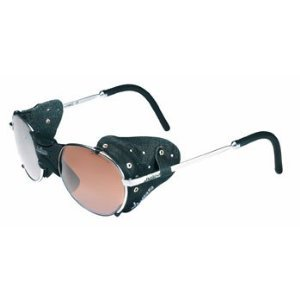 Julbo Drus Sunglasses-Silver Frame-Black Leather Side Shields,Flash Mirror Cat 4 Lens