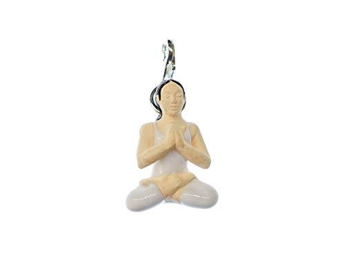 Miniblings Yoga Frau Lotussitz Charm Bettelarmband Buddhismus Meditation Keramik