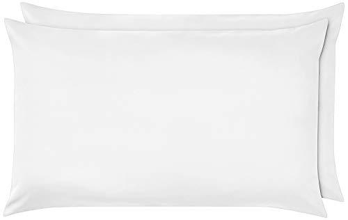 Drap-housse en percale avec volants - 14 couleurs dans toutes les tailles : simple, double, King, Super King PillowCase Pair blanc