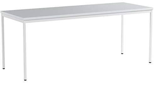 Furni 24 Schreibtisch Seminartisch 200 cm x 80 cm x 75 cm grau Verschiedene Größen schöner Stabiler PC-Tisch mit viel Beinfreiheiten