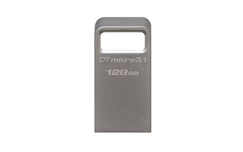 Kingston DataTraveler Micro 3.1 - Memoria USB de 128 GB, Llave, Ultra Pequeña, Ligera, sin Tapa, Metal