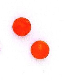 14ct Yellow Gold 8 mm Round Orange Created Simulated Coral Earrings