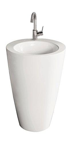 AquaSu 56093 1 Säulen-Waschplatz Ø, Mineralguss, weiß, 52,5 cm Lito