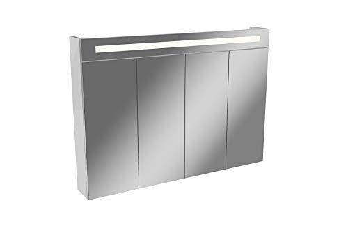 FACKELMANN LED Spiegelschrank TWINDY/Badschrank mit Falttüren und 3D Effekt/Maße (B x H x T): ca. 110 x 78,5 x 16,5 cm/hochwertiger Schrank mit Spiegel und Beleuchtung fürs Bad/Korpus: Weiß