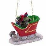 iguana Sleigh Ride Christmas Ornament