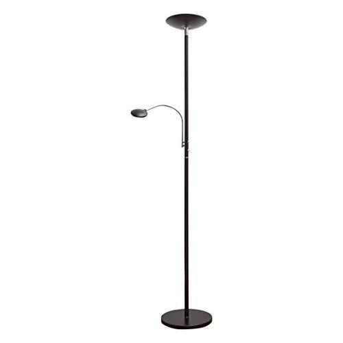 Lampenwelt LED Stehlampe 'Malea' dimmbar (Modern) in Schwarz aus Metall u.a. für Wohnzimmer & Esszimmer (2 flammig, A+, inkl. Leuchtmittel) - Wohnzimmerlampe, Stehleuchte, Floor Lamp, Deckenfluter - Schwarz Halogen Lampe Deckenfluter Ist