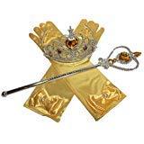 Mädchen Aurora Kostüm Perücke - DreamHigh Prinzessin Cosplay Kleid Zubehör Grils Kostüm Krone Zauberstab Handschuhe Vorteilspack - Gelb - Einheitsgröße
