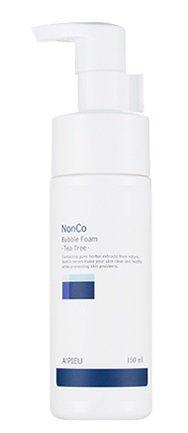 A´Pieu - NonCo Bubble Foam Green Tea Tree - Reinigungsschaum fürs Gesicht mit Teebaumöl und Pflanzenextrakt für sensible und gestresste Haut - Gesichtsreinigung gegen unreine Haut für Männer und Frauen - Gesichtspflege gegen Rötungen, Pickel und Mitesser - Reinigungsschaum & Gele für das Gesicht - Reinigungsmilch & Cremes für das Gesicht - Tagespflege - Gesichtsreinigung & Peeling