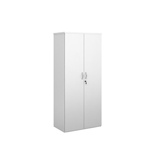 BiMi White High Office Cupboard, Lockable Double Doors and 4 Shelves – Tall Office Cupboard