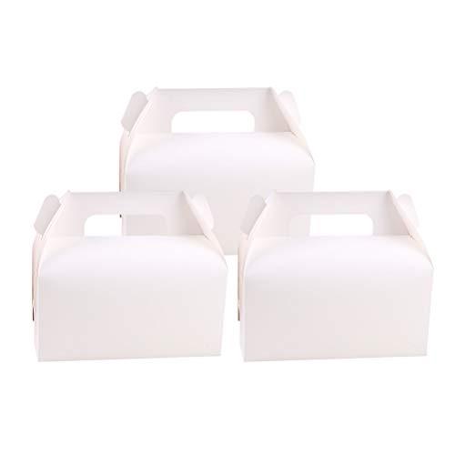 Party Kuchen Cookie Papier Box mit Griff Nougat Candy Tragetasche behandeln verpackung Tasche (weiß) ()