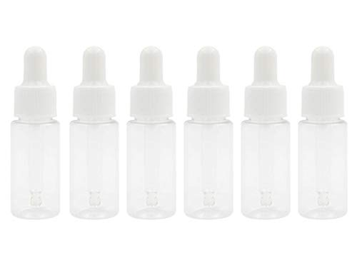 12 STÜCKE 15 ML 0,5 UNZE Leere Klare Kunststoff Tropfflasche mit Weißem Gummikopf und Glaspipette Ätherisches Öl Parfüm Aromatherapie Glas Fläschchen Halter Make-Up kosmetische Behälter