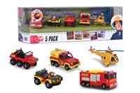 Feuerwehrmann Sam Fahrzeuge - Immer im Einsatz! 5 er - Set; Special - Jupiter mit Licht und Sound Funktion (Spielzeug-fahrzeug Feuerwehrmann Sam)