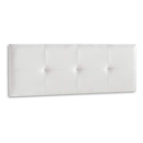 DISTRIGAL, S.L. HomeSouth - Cabecero Cama Matrimonio tapizado en símil Piel Color Blanco, Cabezal Modelo...