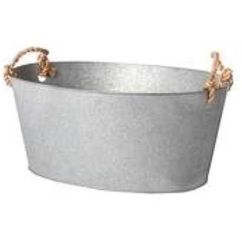 Maceta ovalada Cubo de metal zinc Tub Pot Patio exterior nuevo, Plateado, L 18cm (7