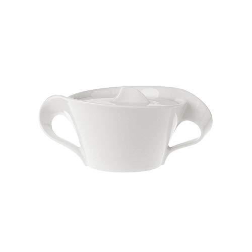 Villeroy & Boch NewWave Zuckerdose, Marmeladendose mit Deckel, geschwungener Henkel, Premium Porzellan, spülmaschinen- und mikrowellengeeignet, weiß, 260 ml
