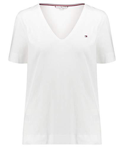 Tommy Hilfiger Damen Top Lucy V-NK SS, Weiß (Classic White 100), X-Large (Herstellergröße: XL)