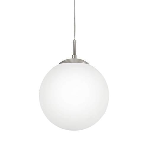 EGLO Pendellampe Rondo, 1 flammige Pendelleuchte, Hängeleuchte aus Stahl, Farbe: Nickel matt, Glas: Opal matt weiß, Fassung: E27, Ø: 30 cm -