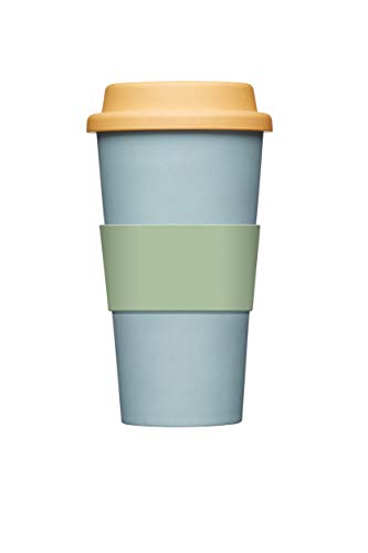 Kitchen Craft Natural Elements Travel Mug - Wiederverwendbare Eco Kaffeetasse, Bambus, blau, 375 ml
