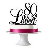 Birthday Cake Topper, Custom Birthday Years 80 Years Old, Black Acrylic Laser Engraved Cake Toppers