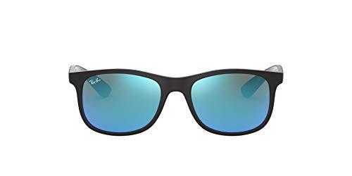 Ray-ban junior 9062s occhiali da sole, nero (matte black on black/flashblue), 48 unisex-bambini