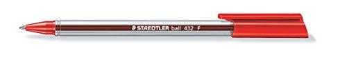 Colores F-2 de oficinas Staedtler 432 – Bolígrafo, la sección F, 0,3 mm, 10 piezas, color: rojo