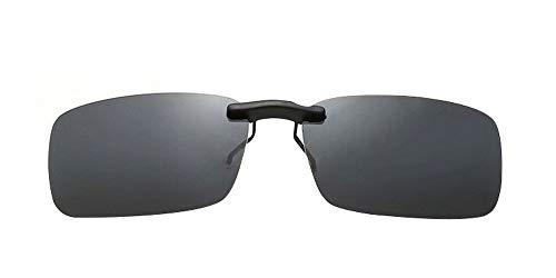 ZEVONDA Unisex Sonnenbrillen-Clip auf Flip Up Polarisierte Linse - Rechteck Klipp auf Klapp-Sonnenbrille für Brillen im Freien und Fahren, Grau