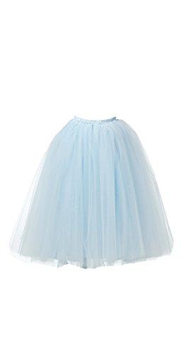 Julia Und Kostüm Romeo (Honeystore Damen's Lang Ballet Petticoat Abschlussball Party Zubehör Tutu Unterkleid Rock Hellblau)