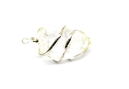 Talk To Crystals White Clear Quartz Rough Shape Wire Wrapped Pendant for Reiki vastu Healing Chakra Stone