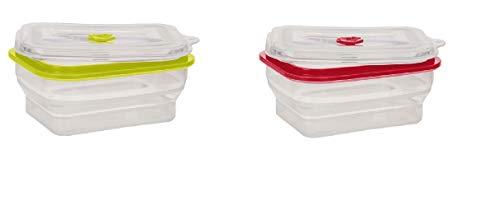 2 Boîtes de Conservation Alimentaire en Silicone Hermétique et Rétractable/Pliable 800 ML 1 Rouge + 1 Verte Lavable au Lave-Vaisselle – Compatible avec Les Micro-Ondes – Convient au congélateur