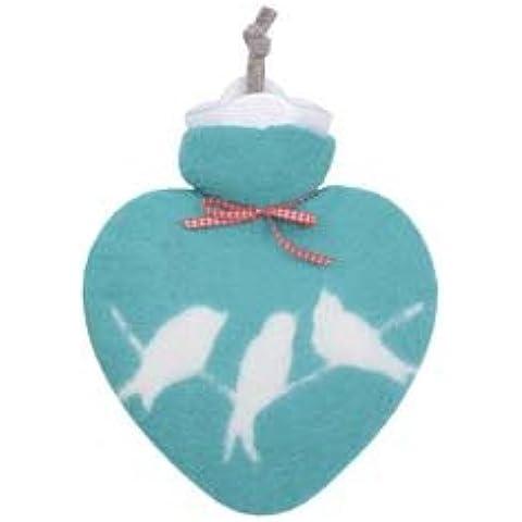 Feltro borsa dell' acqua calda a forma di cuore con uccelli turchese