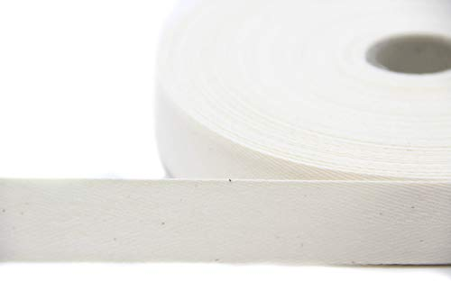 NTS Nähtechnik 50m Rolle Köperband, 20mm breites Nahtband aus 79% Baumwolle (rohweiß, 20)