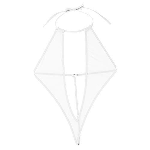 Tiaobug Damen Microkini Tief V Ausschnitt Negligee Monokini Rückenfrei Neckholder Bikini Einteiler Bademode transparent Dessous Weiß One_Size