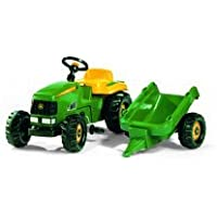 John Deere Kid Childrens Ride On Pedal Toy Tractor with Detachable Trailer