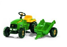 Image of John Deere Kid Childrens Ride On Pedal Toy Tractor with Detachable Trailer