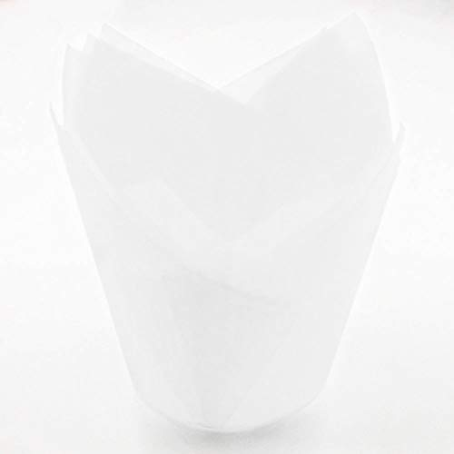50 x Muffinförmchen in Tulpenform, Schokolade, Kuchen, Papier Wraps, Cupcake-Halter, hitzebeständig, weiß, Free Size - Wrap-halter Papier
