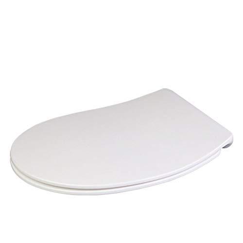 Toilet Lid WC-Deckel, Bogen-U-Form Kompatibel WC-Sitz Drop Mute Antibakterieller, Verstellbarer, Hochbeständiger, Hochbeständiger WC-Deckel,White-40~44 * 36.1cm